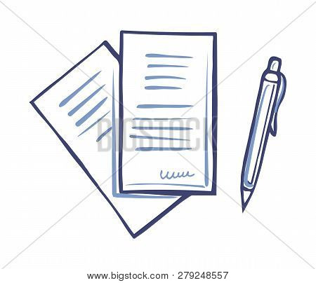 Writing Pen And Paper Documents With Signature Isolated. Office Page With Scribble In Right Corner.