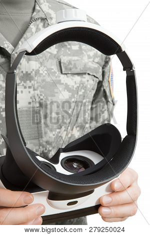 Indoors Close Up Shot Of Military Man Working With Vr Glasses
