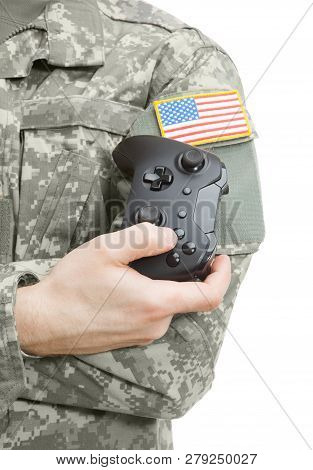 Indoors Close Up Shot Of Military Man With Controller In Hand