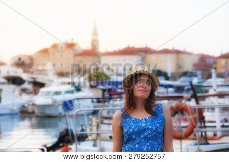 Europe Summer Travel Mediterranean Destination. Tourist Woman On Vacation, Walking On The Streets Of
