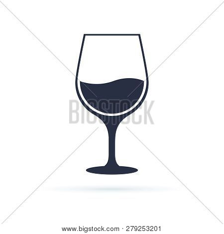 Wine Glass Icon Symbol Vector. Vector Linear Black Illustration Of Wine Glass Isolated On White Back