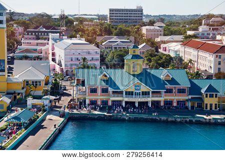 NASSAU, BAHAMAS - January 7 ,2019.Bahamas pier view in Nassau city.