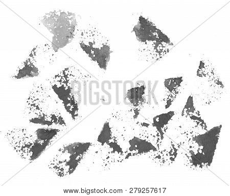 Set Of Black-and-white Grunge Watercolor Spots On White Background. Elements For Your Design.