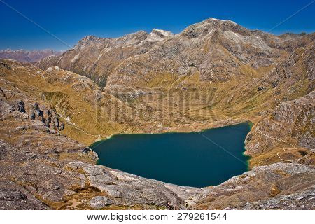 Harris Lake From Conical Hill On Routeburn Track In New Zealand, South Island Of Nz, Mountain Advent