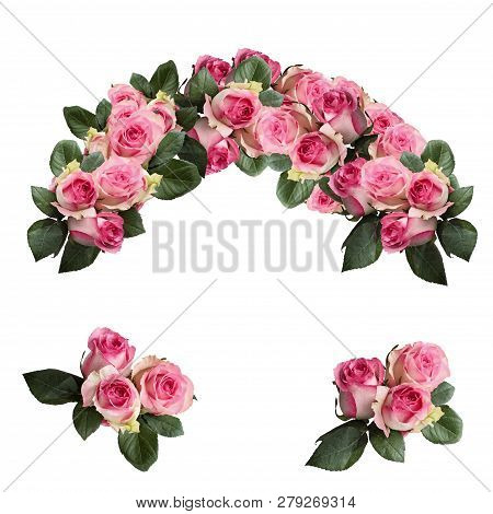 Beautiful Pink And White Rose Flowers With Leaves Arranged And Isolated Over A White Background. Ima