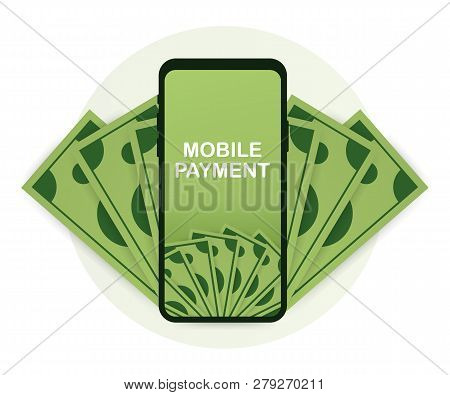 Mobile Payments And Near Field Communication. Transaction And Paypass And Nfc. Vector Stock Illustra