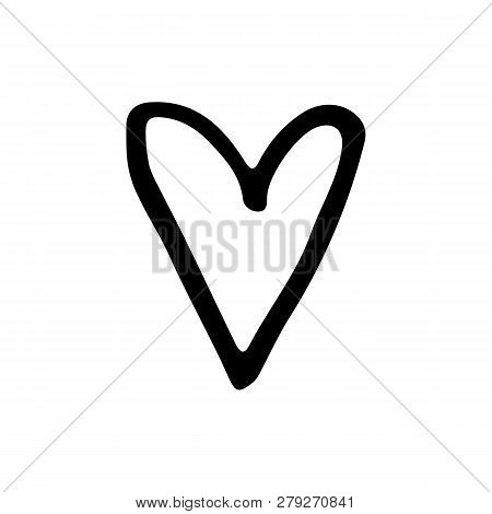 Cute Cartoon Hand Drawn Heart Icon. Sweet Vector Black And White Heart Icon. Isolated Monochrome Doo