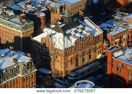 Kingsley Montessori School aerial view in winter, from top of Prudential Center, Massachusetts, USA. Kingsley Montessori School is an elementary school in downtown Boston.