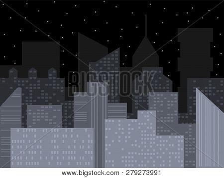 Modern City Skyline. Night City Vector Illustration. Outline Urban Vector Cityscape. Vector Cityscap
