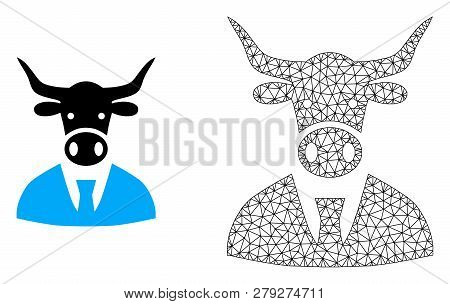 Polygonal Mesh Cow Boss And Flat Icon Are Isolated On A White Background. Abstract Black Mesh Lines,