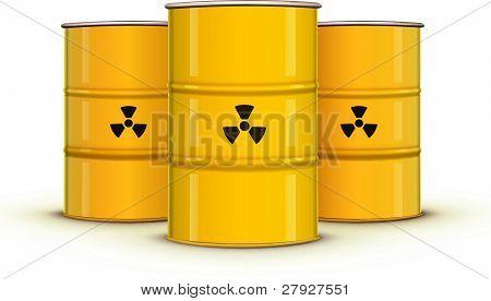 yellow metal barrels