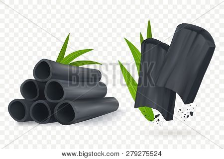 Bamboo Charcoal Vector Illustration. Realistic Cosmetic Charcoal Isolated On Transpartent Background
