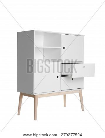 Stylish dresser with empty shelves on white background. Furniture for wardrobe room poster