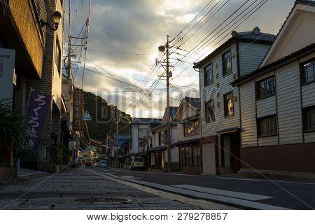 Arita, Japan - October 30, 2018: Old street in the centre of Arita town, famous for Arita yaki, Saga Prefecture