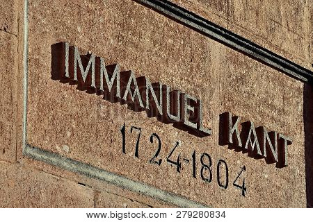 Memorial Inscription On The Grave Of German Philosopher Immanuel Kant. Kaliningrad, Formerly Koenigs