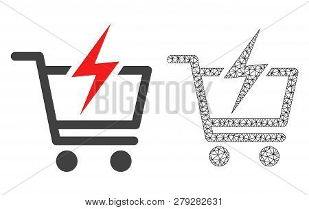 Polygonal Mesh Instant Shopping And Flat Icon Are Isolated On A White Background. Abstract Black Mes