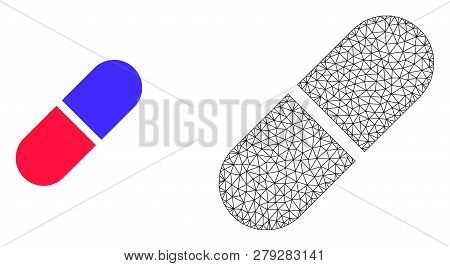 Polygonal mesh medication pill and flat icon are isolated on a white background. Abstract black mesh lines, triangles and dots forms medication pill icon. poster