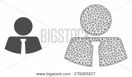 Polygonal Mesh Mister And Flat Icon Are Isolated On A White Background. Abstract Black Mesh Lines, T