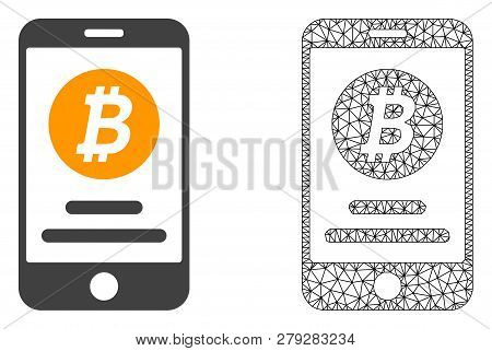 Polygonal Mesh Mobile Bitcoin Account And Flat Icon Are Isolated On A White Background. Abstract Bla