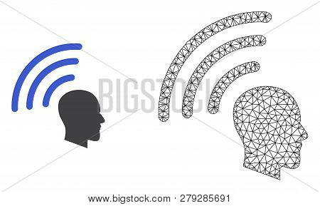 Polygonal Mesh Telepathy Waves And Flat Icon Are Isolated On A White Background. Abstract Black Mesh