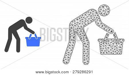 Polygonal Mesh Tired Buyer Persona And Flat Icon Are Isolated On A White Background. Abstract Black