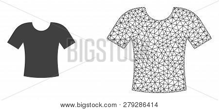 Polygonal Mesh T-shirt And Flat Icon Are Isolated On A White Background. Abstract Black Mesh Lines,