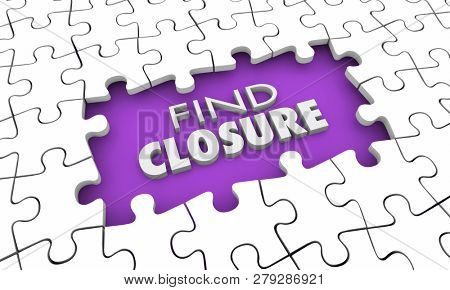 Find Closure Resolution Finality Puzzle Pieces Hole 3d Illustration