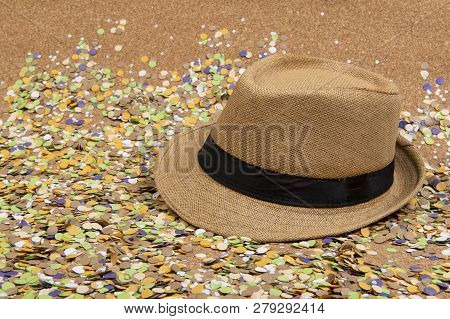 Ibackground Of Confetti With Elements Related To The Carnival And Summer. Panama Hat.
