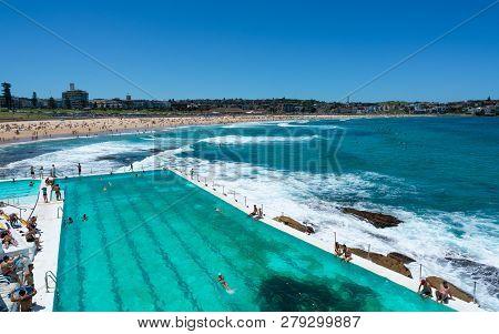 24th December 2018, Bondi Sydney Australia: Swimming Pool In Front Of Bondi Beach Panorama With Peop