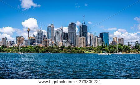Ocean And Sydney Cbd Skyline Landscape Panorama During A Summer Day In Sydney Nsw Australia