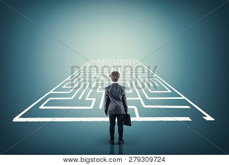 Businessman Stands In Front Of A Maze .