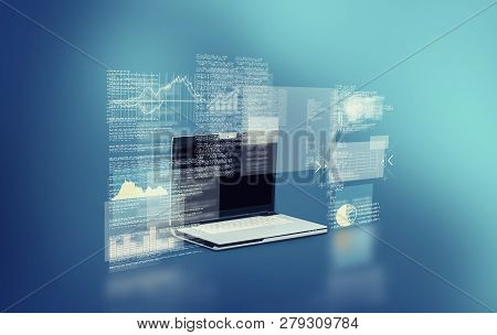 The Laptop With Infographs And Codes Holograms.