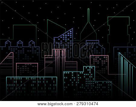 Modern City Skyline. Night City Vector Illustration. Outline Urban Vector Cityscape. Vector Cityscap