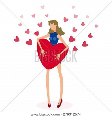 Beautiful Girl Holding Big Red Heart. Isolated Figure Of A Girl With Long Hair On The Background Of