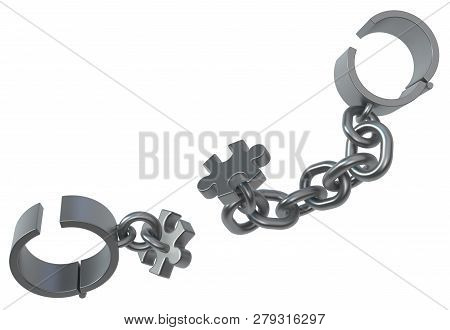 Shackles chain jigsaw puzzle detach grey metal 3d illustration, isolated, horizontal, over white poster