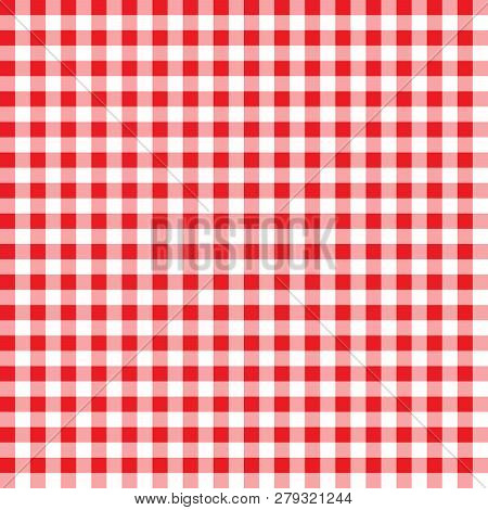Firebrick Gingham Pattern. Textured Red And White Plaid Background. Tablecloth Background Red Seamle