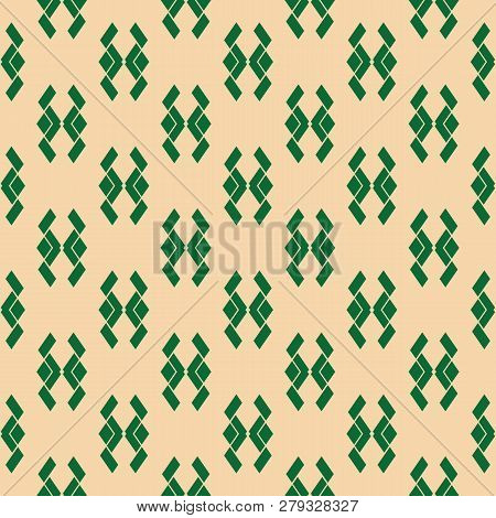 Vector Geometric Traditional Folk Ornament. Tribal Seamless Pattern With Small Rhombus Shapes, Anima