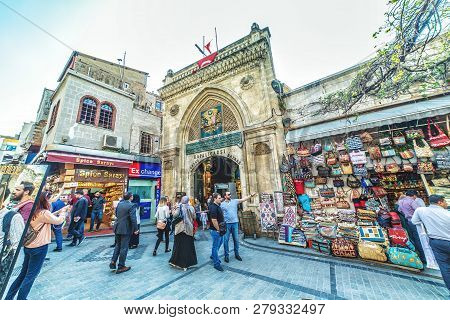 Istanbul, Turkey- On April 12, 2018 : Exterior View Of The Grand Bazar Gate.unidentified Tourists Vi