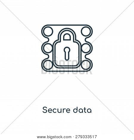 Secure Data Icon In Trendy Design Style. Secure Data Icon Isolated On White Background. Secure Data