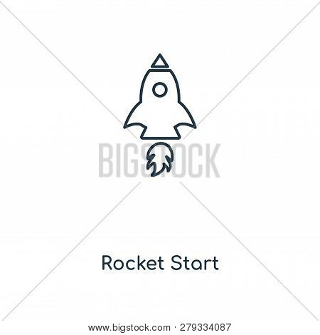 Rocket Start Icon In Trendy Design Style. Rocket Start Icon Isolated On White Background. Rocket Sta