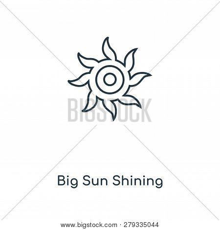 Big Sun Shining Icon In Trendy Design Style. Big Sun Shining Icon Isolated On White Background. Big