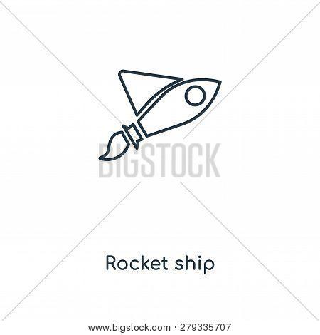 Rocket Ship Icon In Trendy Design Style. Rocket Ship Icon Isolated On White Background. Rocket Ship