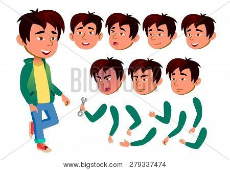 Asian Teen Boy Vector. Teenager. Emotional, Pose. Face Emotions, Various Gestures. Animation Creatio