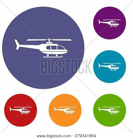 Military helicopter icons set in flat circle reb, blue and green color for web poster