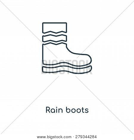 Rain Boots Icon In Trendy Design Style. Rain Boots Icon Isolated On White Background. Rain Boots Vec