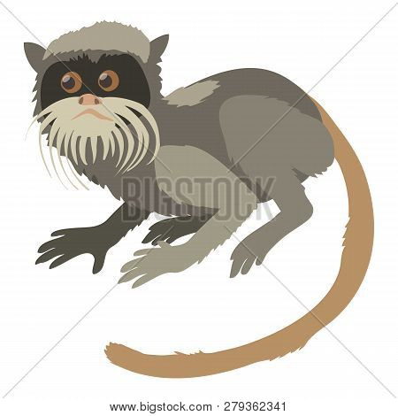 Imperial Tamarin Icon. Cartoon Illustration Of Imperial Tamarin Icon For Web Isolated On White Backg