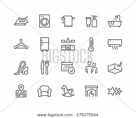 Simple Set Of Hotel Related Vector Line Icons. Contains Such Icons As Available Date Calendar, Toile