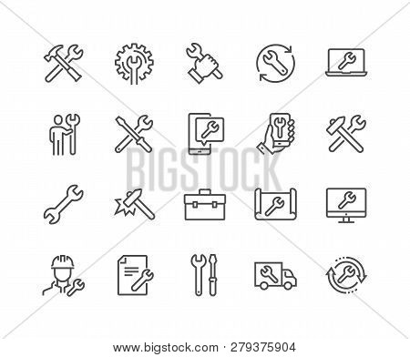 Simple Set Of Repair Related Vector Line Icons. Contains Such Icons As Screwdriver, Engineer, Tech S