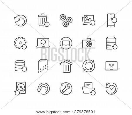 Simple Set Of Recovery Related Vector Line Icons. Contains Such Icons As Restore Data, Backup, Medik
