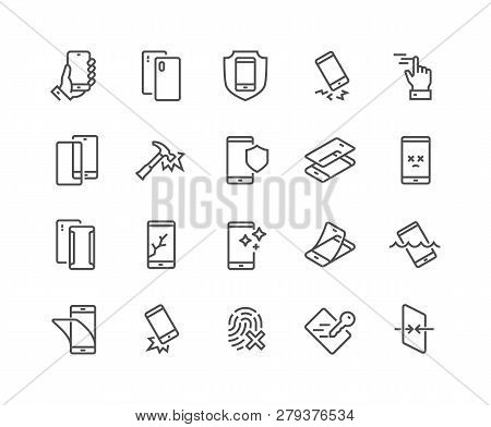 Simple Set Of Smartphone Protection Related Vector Line Icons. Contains Such Icons As Screen Protect